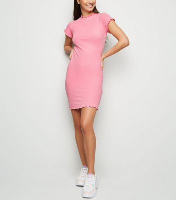 Mid Pink Ribbed Frill Trim Mini Bodycon Dress