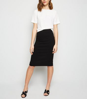 Black Bengaline Pencil Skirt