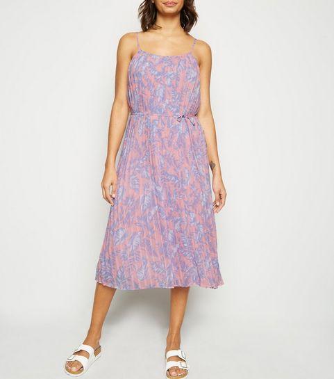 aceb9defb9ff ... Pink Floral Print Cami Midi Dress ...