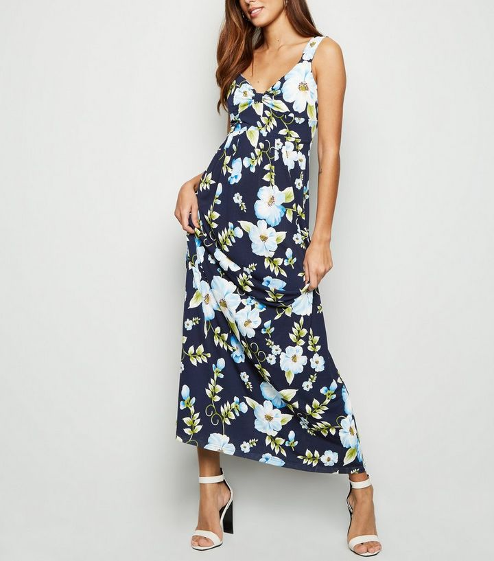 283ad2322e Mela Blue Tropical Floral Maxi Dress | New Look