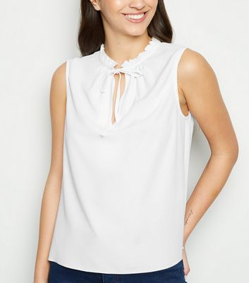 Off White Keyhole Tie Neck Sleeveless Top