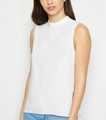Off White Frill Trim Sleeveless Top