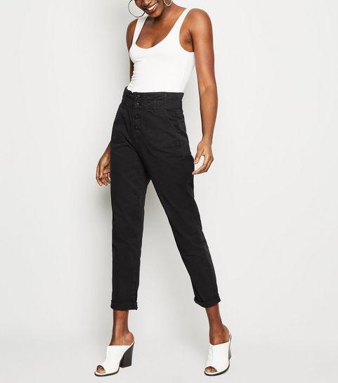 c76cccfe148 ... Black Button Placket Paperbag Jeans ...
