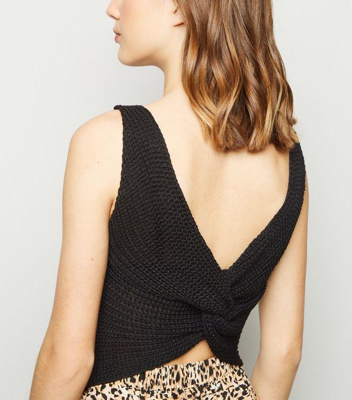 6015dde8f0ac4e Black Twist Knot Knit Vest | New Look