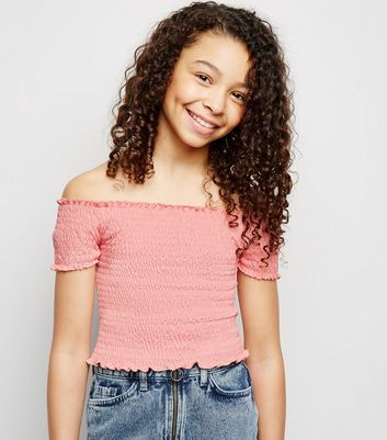 Girls Coral Shirred Bardot Top