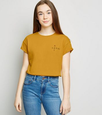 Girls Mustard Not Sorry Slogan T-Shirt