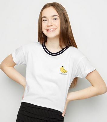 Girls White Banana Thanks A Bunch Slogan T-Shirt