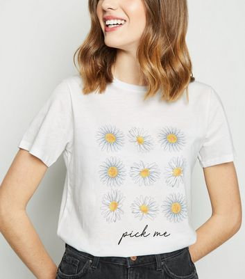 White Pick Me Daisy Slogan T-Shirt