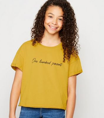 Girls Mustard One Hundred Percent Slogan T-Shirt