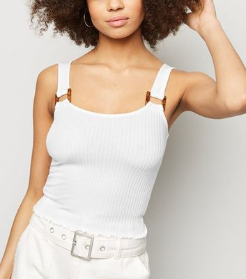 White Ribbed Square Neck Crop Top