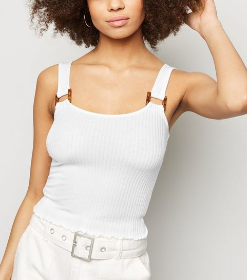 12dcd08100 ... White Ribbed Square Neck Crop Top ...
