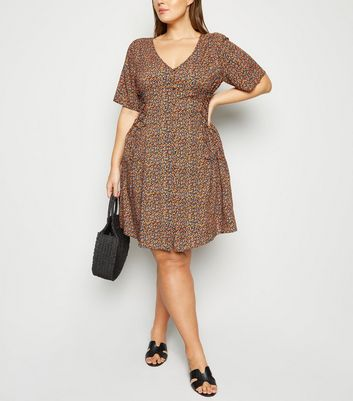 Curves Black Ditsy Floral Button Front Tea Dress
