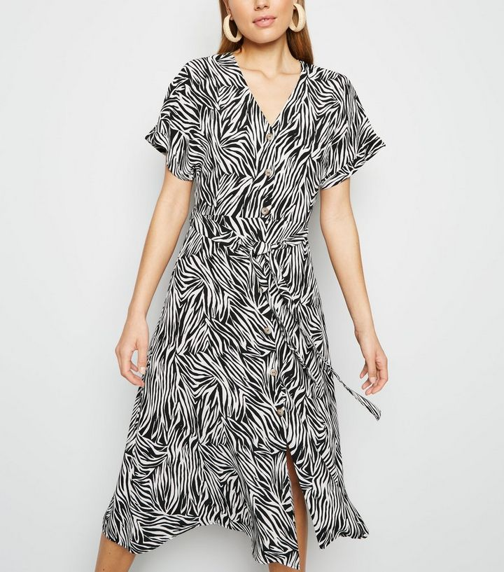 df003d032e Black Zebra Print Button Up Midi Dress | New Look