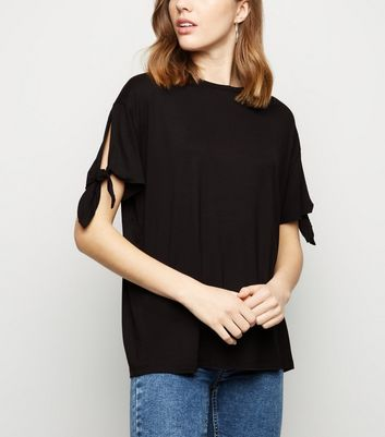 Black Short Tie Sleeve T-Shirt