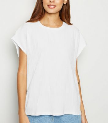 Off White Textured Boxy T-Shirt