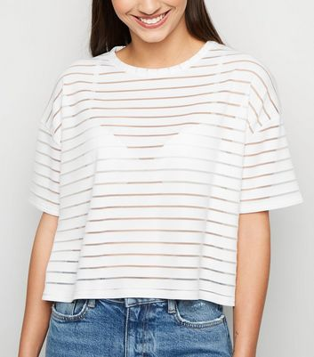 White Stripe Mesh Boxy T-Shirt