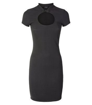 Black Cut Out Front Bodycon Dress New Look