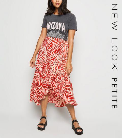 f61285afc792ef ... Petite Red Zebra Print Ruffle Midi Skirt ...