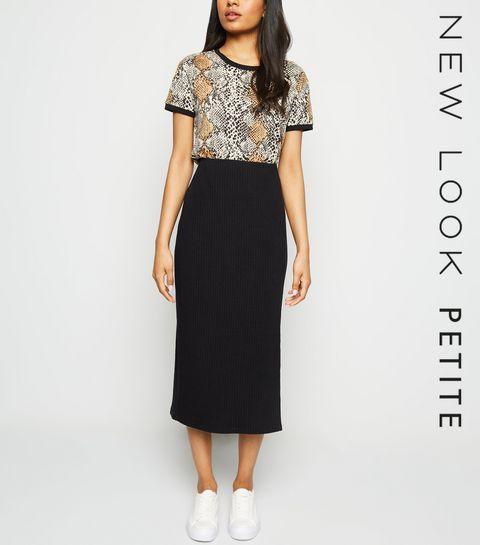 0240cfaa9e24 ... Petite Black Ribbed Midi Skirt ...