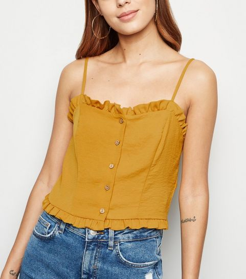 aa908eb92a7 ... Yellow Frill Button Up Cami ...