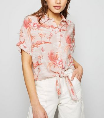 Pink Tropical Tie Front Shirt