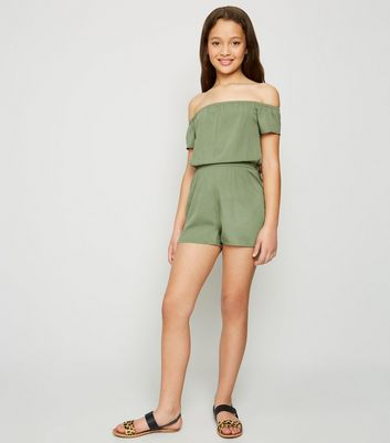 Girls Khaki Bardot Playsuit