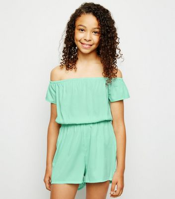 Girls Mint Green Bardot Playsuit