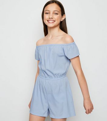 Girls Pale Blue Bardot Playsuit