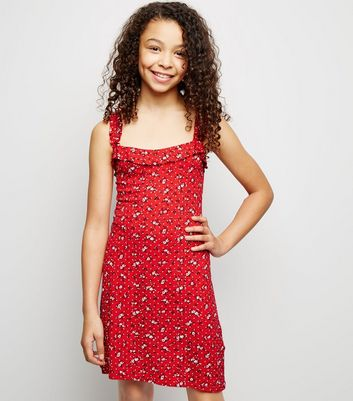 Girls Red Floral Frill Strap Dress