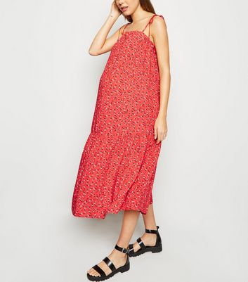 Maternity Red Ditsy Floral Tie Strap Midi Dress