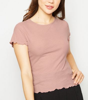 Pink Ribbed Frill Trim Short Sleeve T-Shirt