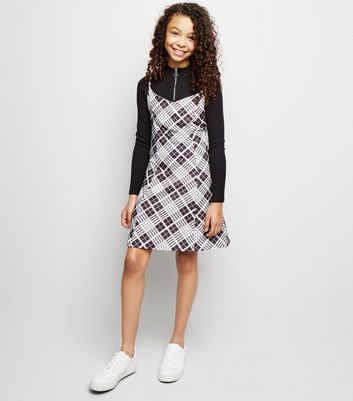 Girls Black Check Mini Slip Dress