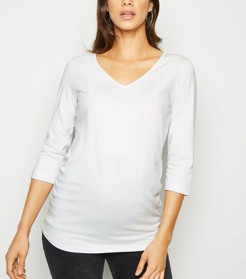 Maternity White V Neck 3/4 Sleeve Top