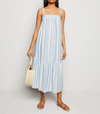 Petite White Stripe Smock Midi Dress