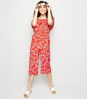 Girls Red Floral Bardot Crop Jumpsuit