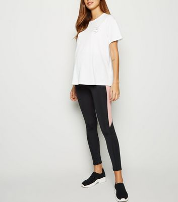 Maternity Black Colour Block Sports Leggings
