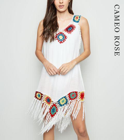 d42437ee613 ... Cameo Rose White Crochet Tassel Trim Dress ...