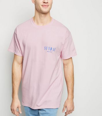 Mid Pink Sunday Slogan T-Shirt