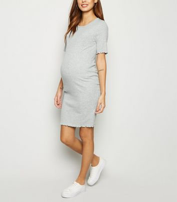 Maternity Grey Ribbed Midi Bodycon Dress