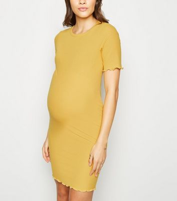 Maternity Yellow Ribbed Midi Bodycon Dress