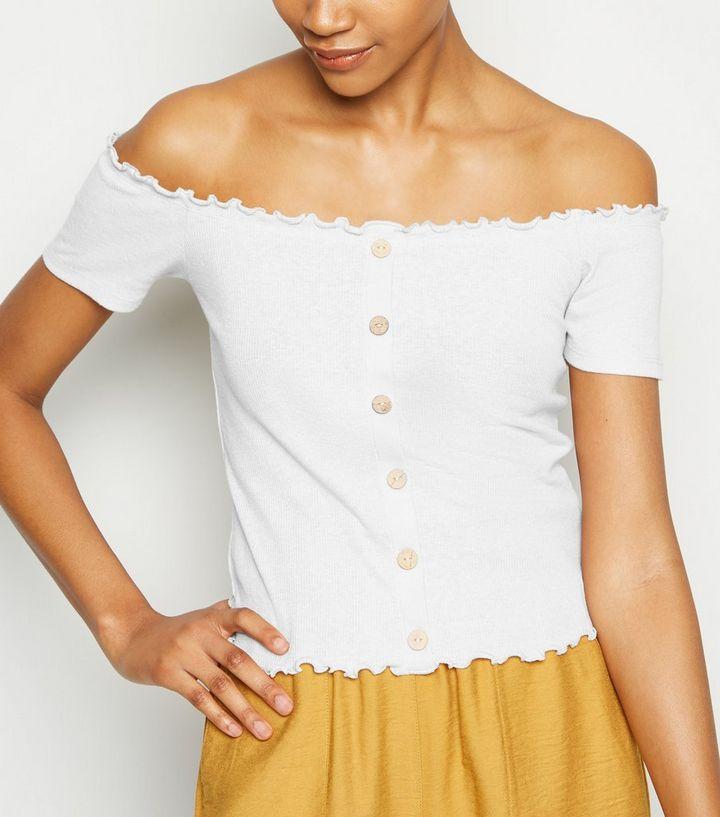 3d82b61756d Tall Cream Ribbed Button Bardot Top | New Look