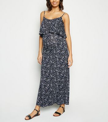 Maternity Multicoloured Floral Tiered Jersey Maxi Dress