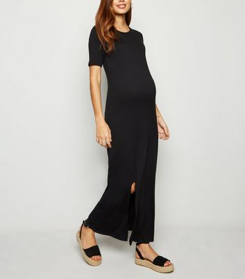 Maternity Black Maxi T-Shirt Dress