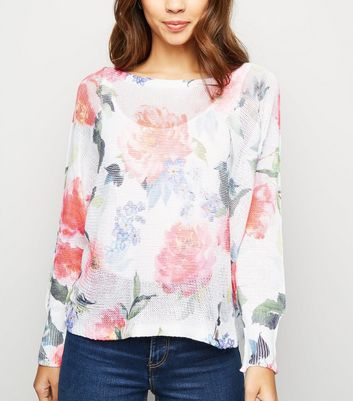 Cameo Rose White Floral Fine Knit Jumper