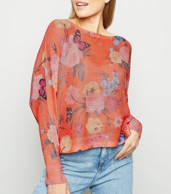 Cameo Rose Orange Floral Fine Knit Jumper