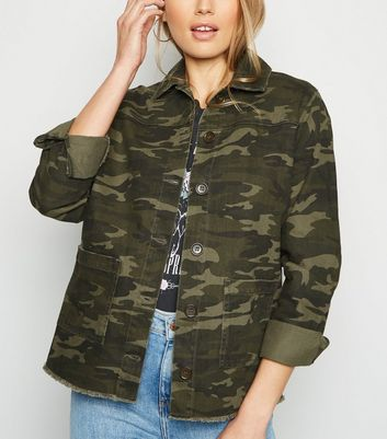 Tall Khaki Camo Utility Denim Jacket