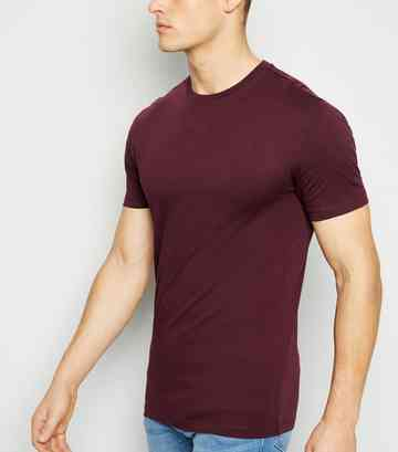 T-shirt bordeaux Muscle Fit à col choker