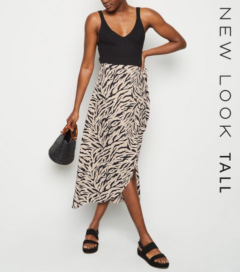 c4d177ac4e0 ... Tall Black Zebra Print Tie Side Midi Skirt ...
