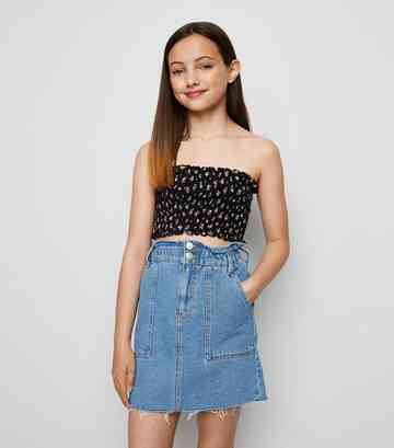 Girls Pale Blue Paperbag Denim Skirt