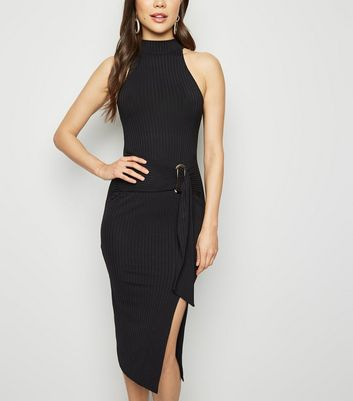 Black High Neck Buckle Waist Midi Dress